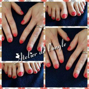 Remplissage gel + couleur rouge mains & pieds par Laurie Atelier de l'Ongle