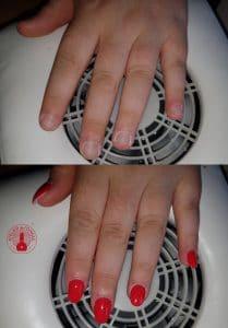 Pose de faux ongles, capsules avec du vernis rouge réalisé par Laurie Atelier de l'Ongle