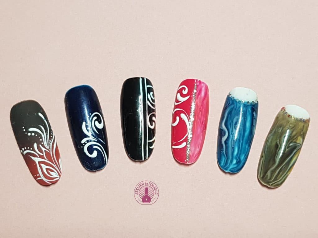 Nail art avec des arabesques réalisé à la formation de Tartofraises - Laurie Atelier de l'ongle