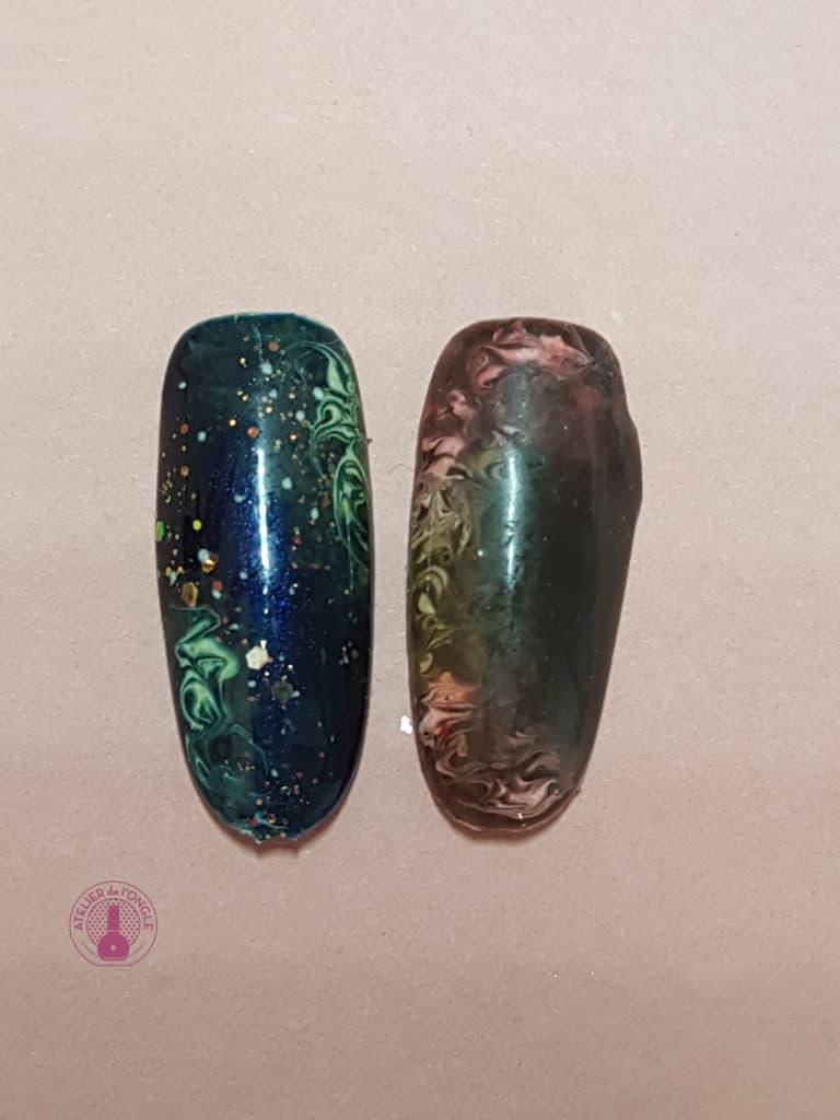 Nail art effet galaxie réalisé à la formation de Tartofraises - Laurie Atelier de l'ongle